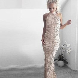 Wholesale fringe dresses - SALE Gold Fringe Sequin Dress Beach Wedding Maxi Halter Neck Sequin Tassel Gown Sexy