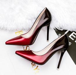 Wholesale European Wedding Stiletto - fashion European American style Woman High Heels Wedding Shoes Black Red Patent Leather Women Pumps Pointed Toe Sexy High Heels Stilettos