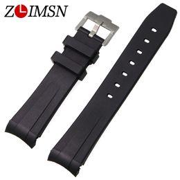 Wholesale Diving Belt - Wholesale- ZLIMSN 20mm Watchbands Strap Mens Black Rubber Diving Watch Band Belt Waterproof Silicone Watch Strap Accessories