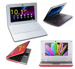 Wholesale Mini Laptop Netbook Dhl - 7 inch 10.1 inch Mini laptop VIA8880 Netbook Android laptops VIA8880 Dual Core Cortex A9 1.5Ghz 4GB 8GB Netbook DHL FREE