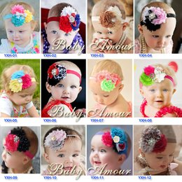 Wholesale Vintage Rosette - Chiffon headbands Shabby Frayed Vintage Rosette combine Flowers rhinestone pearl Christmas baby girl kids child infant hair accessory SEN073