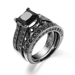 Wholesale Men Black Diamond Rings - Men Retro Black Silver Wedding zircon Ring Set for man Silver Wedding Engagement Jewelry Crystal Ring