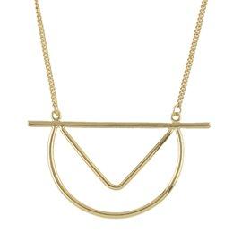 Wholesale Punk Rock Necklaces Women - New Bijoux Fashion Long Gold-Color Silver Color Chain Geometric Pendant Necklace for Women Punk Rock Style Jewelry