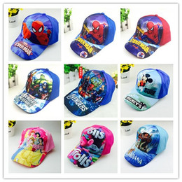 Wholesale Baseball Caps Kids Wholesale - Kids Spiderman Trolls Moana Avengers Elsa Anna Hats Caps NEW children Ball cap Boys girls Mickey Minne Cartoon Princess baseball Hat A08