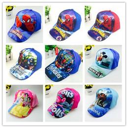 Wholesale New Kids Winter Hats - Kids Spiderman Trolls Moana Avengers Elsa Anna Hats Caps NEW children Ball cap Boys girls Mickey Minne Cartoon Princess baseball Hat A08