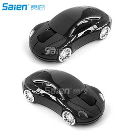 Wholesale Pink Gaming Mouse - 1600DPI 3D Wireless Optical Mouse Pink Car Shaped 10m Gaming Mice LED Lights Mouse + 2.4G USB Receiver For Laptop Computer Free shipping