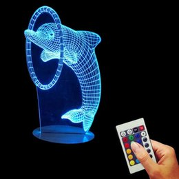 Wholesale Multi Colored Lamps - Free Shipping 1Piece Multi-Colored Bulbing Light Dolphin 3D Optical Illusion Desk Night Light Led Table Lamp Home Decor For Kid