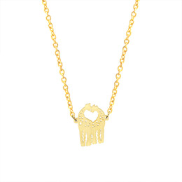 Wholesale Gold Giraffe Necklace - Wholesale 10Pcs lot Hot Sale 2017 Animal Theme Stainless Steel Jewelry Pendant Couples Giraffe Kissing Gold Chain Choker Necklaces For Women