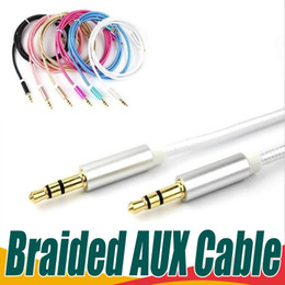 Wholesale Nylon Headphones - For Headphones Cellphones Retail Bag 3.3ft AUX Cable 3.5mm Gold plated Nylon Braided Cord Metal Connector Auxiliary Car Audio Cable