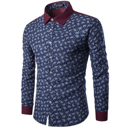 Wholesale Chinese Shirts For Men - Wholesale- Mens Paisley Shirts Vintage Palace Flowers Printed Shirts Male Slim Fit Long Sleeve Retro Chinese Style Floral Shirts for Men