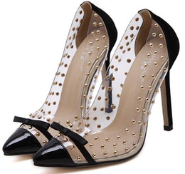 Wholesale Transparent Pointed Heeled Shoes Women - European and American transparent clear crystal Rivet suede leather bowknot butterfly knot sexy high heels pumps stiletto