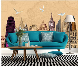 Wholesale Architectural Wedding - 3D photo wallpaper custom size mural non-woven wall Famous architectural hand-painted puzzle 3D Mural wallpaper Free shipping