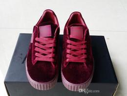 Wholesale Ladies Velvet Flats - 2017 New Color Womens Rihanna Fenty Creeper Velvet Pack Black Grey Burgundy Color Brand Ladies Casual Shoes 36-39