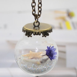 Wholesale Glass Starfish Shells - New unique necklaces for women Handmade dry flower pendant necklace starfish shells glass ball necklace free shipping