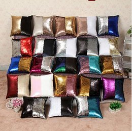 Wholesale Magic Pillow Case - Mermaid Sequin Pillow Case cover Magic Reversible Pillowslip Sofa Bright Glitter Car Cushion Home Decorative 36 color KKA1979