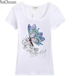 Wholesale Girls Butterfly Shirt - Wholesale-NA CHUAN Fashion Women Girls Lady Casual Butterfly Print Short Sleeve Cotton Slim Top Shirts Plus size Rhinestone Price Lucky