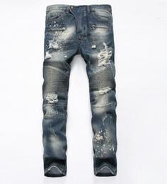 Wholesale Modern Khaki Pants - New 2017 Good Quality Mens Fold Jeans Ripped Pants Slim Fit Motorcycle Jeans Men Distressed Vintage Decorative Zipper Jeans size29-38