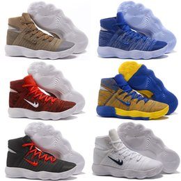 Wholesale Ball Leather Sport - New Mens Basketball Shoes Sneakers React Hyperdunk 2017 High Quality Mesh Basket Ball Trainer Shoe Sport 18 Colors Size 7-12
