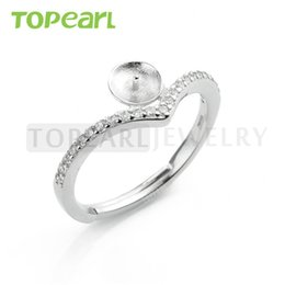 Wholesale Silver Mounting Ring - 9RM77 Teboer Jewelry 5pcs LOT Clear Cubic Zirconia 925 Sterling Silver Adjustable Ring Mounting