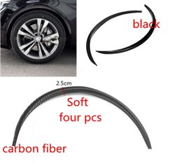 Wholesale Ford Fender - 4pcs Car Truck Carbon Fiber  black Rubber Wheel Eyebrow Protector Lip Sticker Trim Fender Flare Anti-scratch for ford vw audi