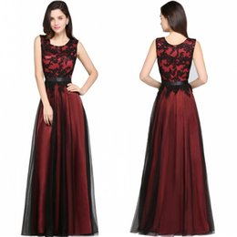 Wholesale Cheapest Lace Dresses - Under $40 Hot Burgundy Simple Prom Dresses 2017 Cheapest Sleeveless A Line Black Appliqued Floor Length Evening Gowns CPS590