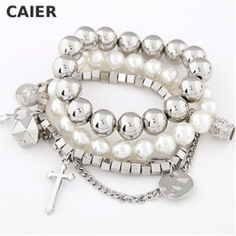 Wholesale Girls Metal Bangles - Wholesale-Vintage Cross Key Metal Imitation Pearl Bracelets & Bangles Multilayer Beads Silver Plated Bangle Girl Jewelry Women Accessories