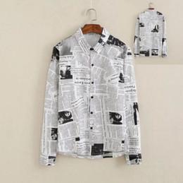 Wholesale Male Personality - New Metrosexual personality slim Men's Clothing Male vintage Fashion newspaper printing art long sleeved shirt Boy Casual Tops M L XL XXL