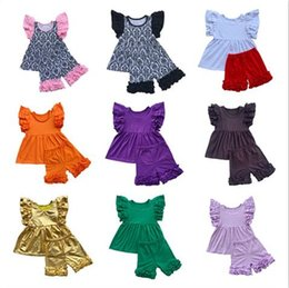 Wholesale Butterfly Style Baby T Shirt - 2017 Cotton Children Summer Hot Sale Clothes Sets Kids T-Shirt Butterfly Sleeves Baby Girls Tops+Ruffled Shorts 2 Piece Sets Girls Clothes