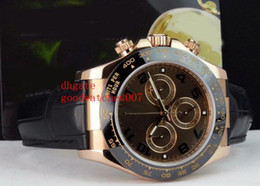Wholesale 18kt Gold Watches - Top quality Luxury 18kt Rose Gold on Strap-Chocolate Arabic 116515 SANT BLANC 2813 movement Automatic Mens Watch