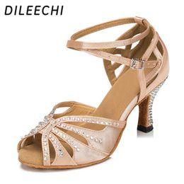 Wholesale Elastic Dance Shoes - TOP Sneakers DILEECHI skin Ladies Flesh Satin Crystal Rhinestone Salsa Tango Ballroom Dance Shoes Latin Dance Shoes Mambo Dance Shoes