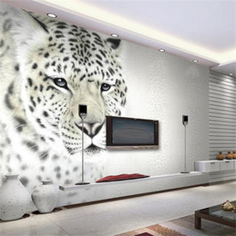 Wholesale Leopard Wallpaper - Wholesale- Custom mural wallpaper room 3d photo wallpaper tiger leopard HD painting photo non-woven mural sofa TV background wall wallpaper