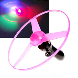 Wholesale Led Flying Disk - Plastic Flying Toys Outdoor Fun Sports Disk Frisbees Flying Saucer Boomerang Arbalest Glowing UFO Copter Clover Spin LED Light