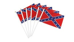 Wholesale Wholesale Confederate Flags - 14*21cm Small Confederate Rebel Flag Civil War Flag Two Sides Printed Flag Confederate Battle Flags