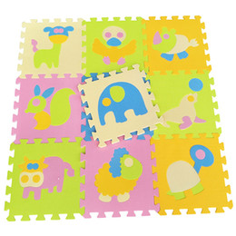 Wholesale Eva Foam Play Floor Mat - Wholesale- 9pcs set Animal Crawling Play Mat For Children, Baby Climb Puzzle Eva Foam Carpet Kids Rug Game Toys Gift Activity Gym Floor 449