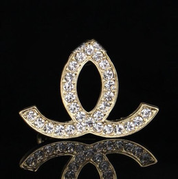 Wholesale Luxury Engagement Dresses - Luxury Brand Designer Women Double Layer Letter Crystal Rhinestone Brooch Pin 3.2*4.2cm Lapel Pin Bridal Engagement Jewelry Dress Accessory