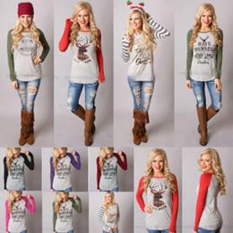 Wholesale Long Blouse Print - Christmas T-Shirt Women Xmas Elk Shirts Santa Claus Tops Long Sleeve Blouse Loose Casual Tees Print Blusas 16 Styles 100pcs OOA3036