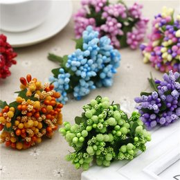 Wholesale Orange Wedding Bouquets - 12PCS lot Artificial Flower Stamen wire stem marriage leaves stamen DIY wreath wedding box decoration