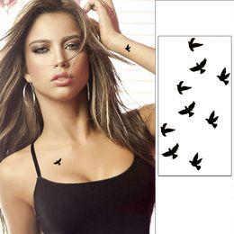 Tatuaggio Flash da polso Tatuaggio falso Tatto Black Birds Impermeabile Autoadesivo del tatuaggio temporaneo per Body Art Women Tatoo supplier black bird sticker da autoadesivo nero dell'uccello fornitori