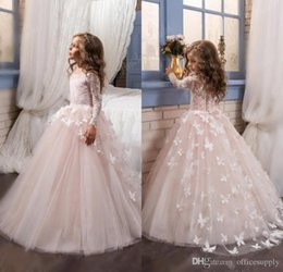 Wholesale little girl princess ball gowns - 2017 Blush Lace Long Sleeves Ball Gown Flower Girls Communion Dresses Full Butterfly Kids Pageant Gowns Little Baby Birthday Party