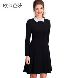 8b69a9cd6bc12 2017 Spring and Autumn Women Long-sleeved A-line Dress Black Peter Pan  Collar Cheap Plus Size Dress Big Skirt