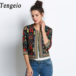 Wholesale Ethnic Floral Pattern - Wholesale- Autumn women basic coats Retro Vintage Ethnic Jacket Floral Print Embroidered Short fall Jacket Slim Coat Chaquetas Mujer 10SJM