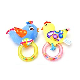Wholesale Monkey Baby Rattle - Wholesale- 1PC 0-3 Year 4 Styles Baby Rattle hand Bell Toy Owl Bird Chicken Animals Plush Happy Monkey Gift