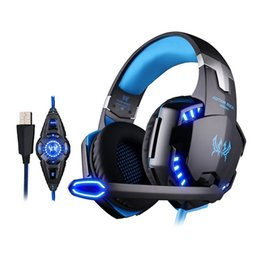 Wholesale Usb Surround Sound Headphones - KOTION EACH G2200 USB 7.1 Surround Sound Vibration Gaming Headset Game Headphone with Microphone & Volume Controller & LED Lights for PC