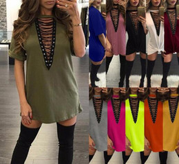 Wholesale Sexy Cotton Night Gown - 2017 Spring Half Sleeve Lace Up Plaid Shirt Dress Women Casual Turn-down Collar Bandage Plunge V Neck Office Dress Mini vestidos