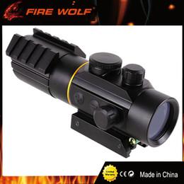 el alcance del rifle monta los carriles Rebajas FIRE WOLF Visor óptico táctico 3X42 Red Green Dot Sight Scope Fit Picatinny Rail Mount 11 20mm Scope Rifle Scopes