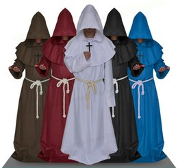 Wholesale Medieval Dresses Costumes - Adult Men Medieval Monks Monk Robe Costume Dress Wizard Dress Clothes Christian Pastor Full Set Halloween Clothes Wholesale