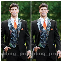 Wholesale Camouflage Pants For Plus Size - 2017 Top Camouflage Tuxedos Custom Made Button Camo Mens Wedding Suits Notched Lapel Groom Wear Prom Suits For Men ( Jacket+Pants+Vest+Tie)