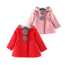 Wholesale Trench Coat For Baby Girl - cute baby girl causal trench coat solid rabbit hooded cotton coat for 6-36M baby newborn infant outerwear coat clothes hot