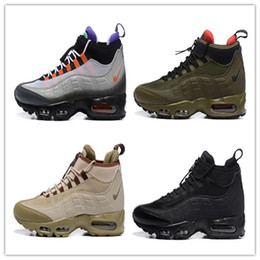Wholesale Lace Ankle Boots - 2017 newest Air 95 Sneakerboot 20th Anniversary MID Shoe,,Army Boots Men's Autumn Winter ankle,Sealed-zip Training Retro Sneakers shoes