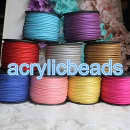 Wholesale Glitter Cord - 100Yard Roll Glitter Powder Faux Leather Suede Cord Flat Korean String 3mm Necklace DIY Jewelry Making Thread